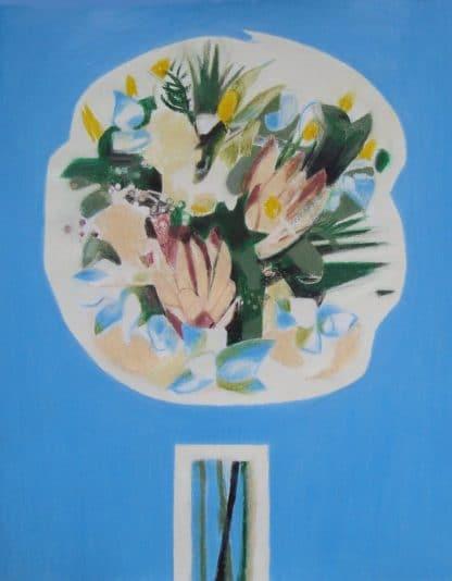 bouquet sur fond bleu clair