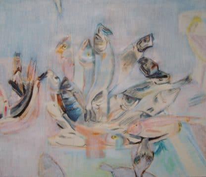 dans un port, étal de poissonnerie dessiné pour l'écologie