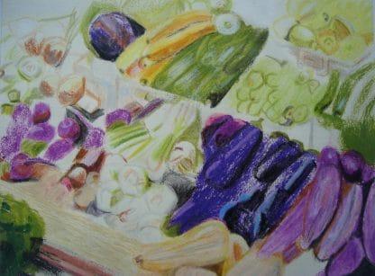 aubergines dessinées au pastel
