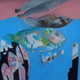 poissons dans l'eau dessinés au pastel à l'huile