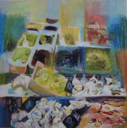 légumes dessinés au pastel à l'huile