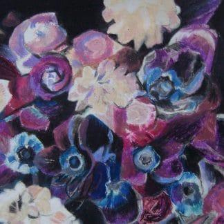 fleurs dessinées au pastel