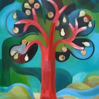 arbre rouge avec des pommes et des poires