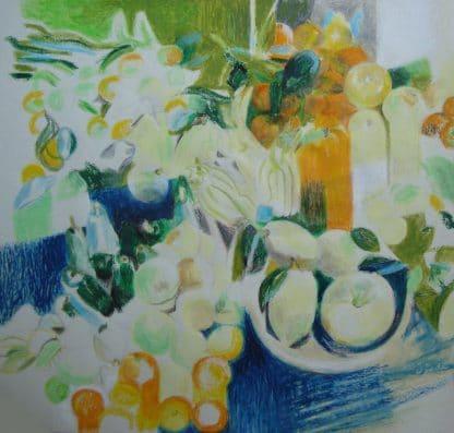 fruits dessinés au pastel à l'huile