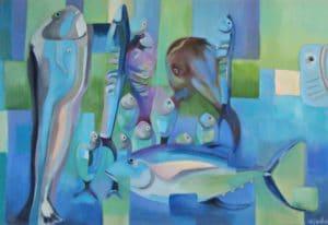 poissons peints à la peinture à l'huile