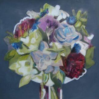 bouquet de fleurs dessiné au pastel pour vente d'oeuvres d'art