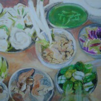 légumes sur un étal de marché en asie