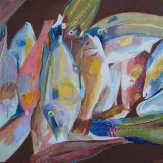 dessin d'un étal de marché avec des poissons en couleur