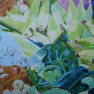 chou et endives dessinés au pastel pour vente d'art en ligne