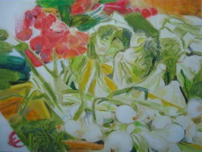 légumes dessinés au pastel pour galerie en ligne