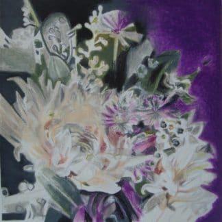 Dahlias dessinés au pastel à l'huile